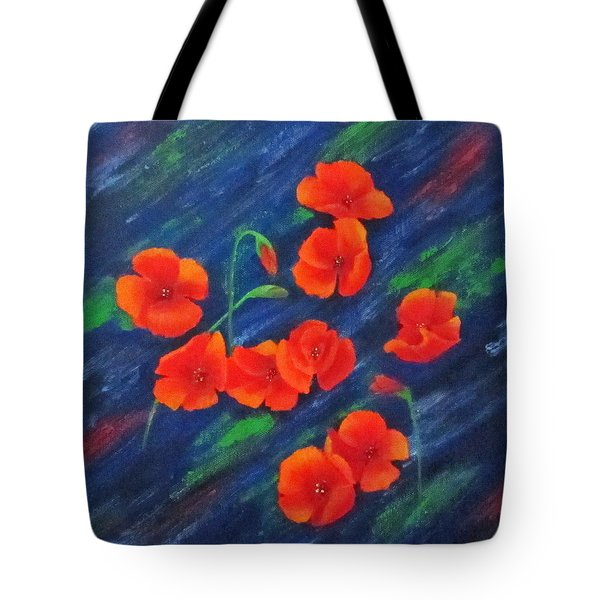 Poppies In Abstract Tote Bag by Roseann Gilmore