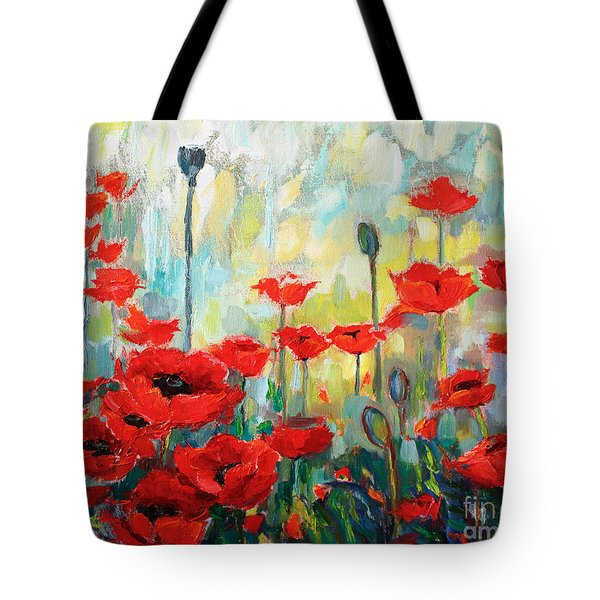 Tote Bag featuring the painting Poppies In Bloom by Jennifer Beaudet
