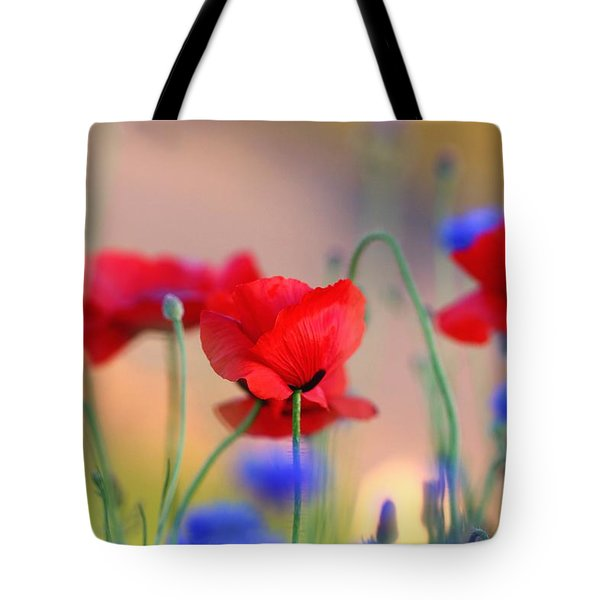 Poppies In Spring  Tote Bag by Lynn Hopwood