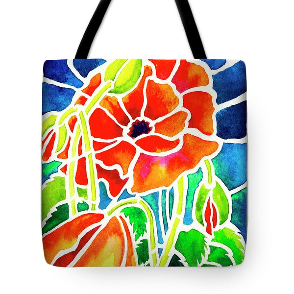 Poppies In Stained Glass Tote Bag by Janis Grau