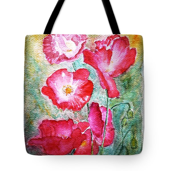Tote Bag featuring the painting Poppies by Jasna Dragun