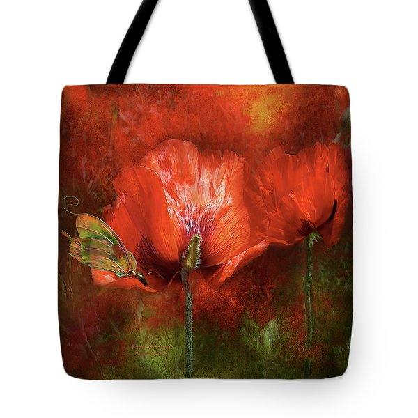 Poppies Of Summer Tote Bag by Carol Cavalaris