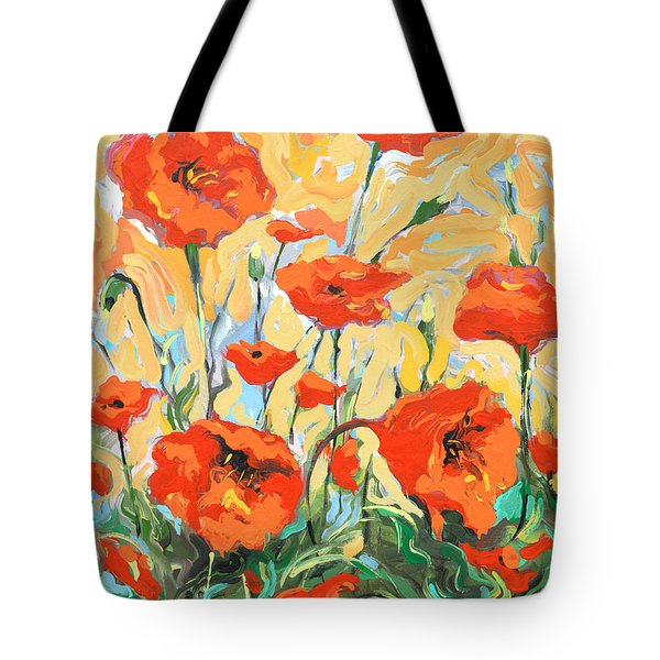 Poppies On A Yellow            Tote Bag