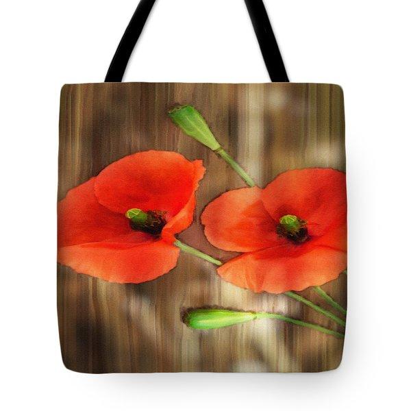 Poppies On Barnwood Tote Bag