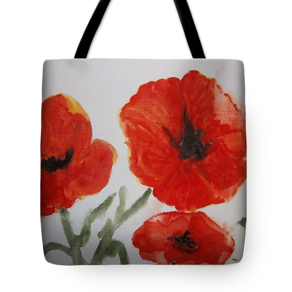 Poppies On Linen Tote Bag