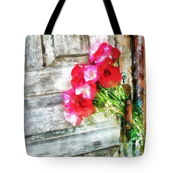 Poppies On Weathered Door 2 Tote Bag