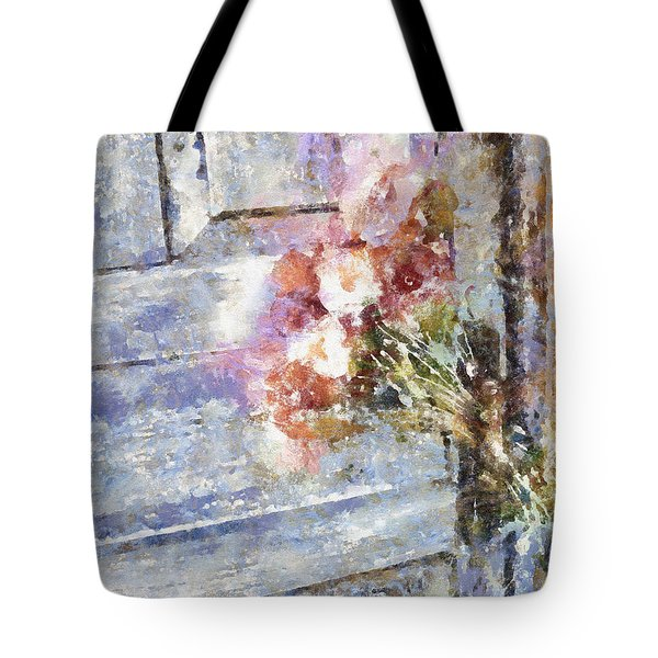 Poppies On Weathered Door Tote Bag by Shirley Stalter