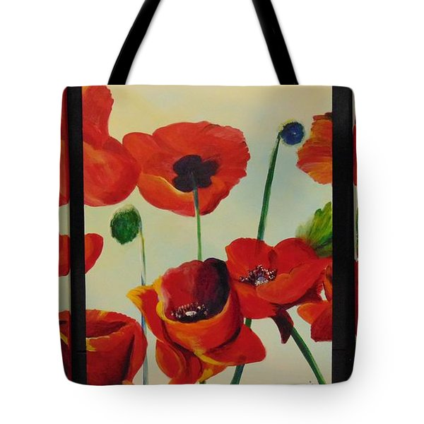 Tote Bag featuring the painting Poppies by Saundra Johnson