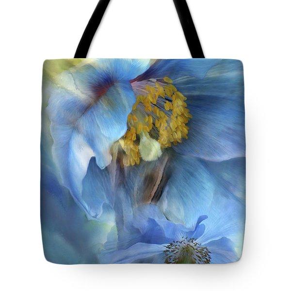 Poppies So Blue Tote Bag by Carol Cavalaris