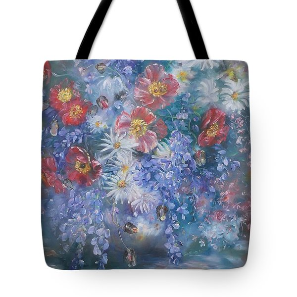 Poppies, Wisteria And Marguerites Tote Bag