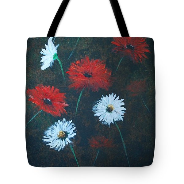 Tote Bag featuring the painting Poppin Daisies by Leslie Allen