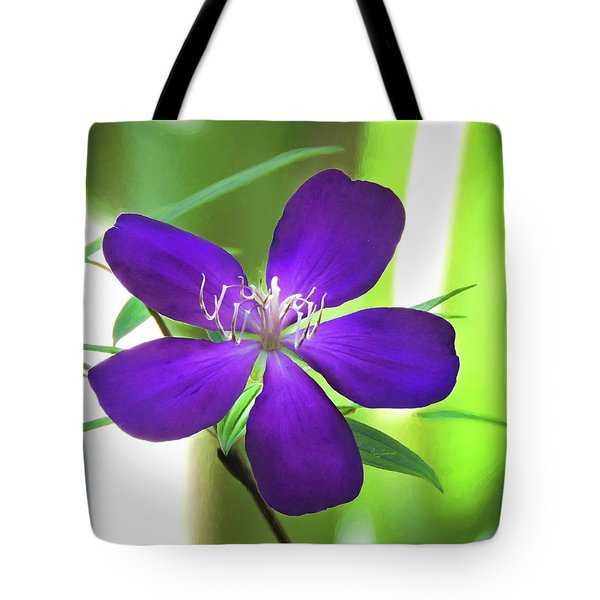 Tote Bag featuring the painting Poppin Purple Flower by Penny Lisowski