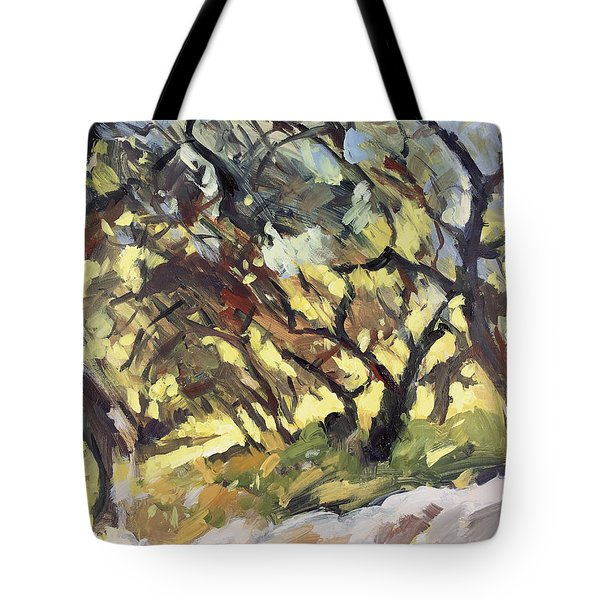 Popping Sunlight Through The Olive Grove Tote Bag