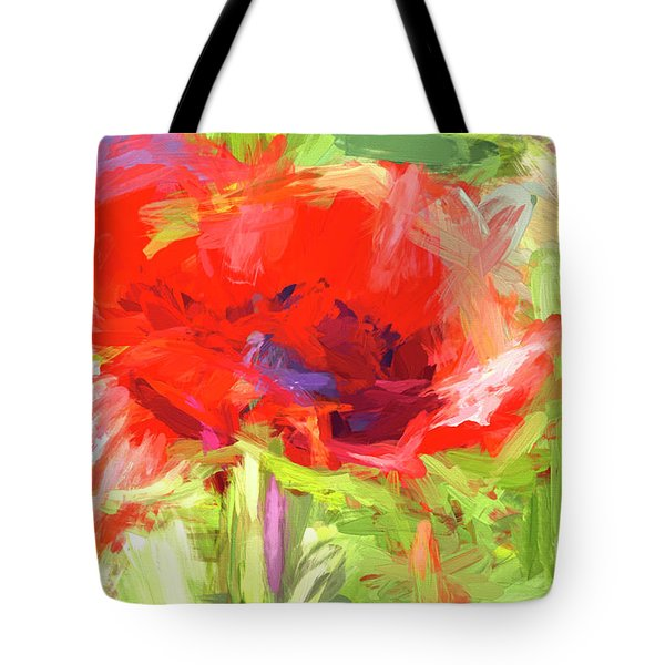Tote Bag featuring the photograph Poppy Abstract Photo Art by Sharon Talson