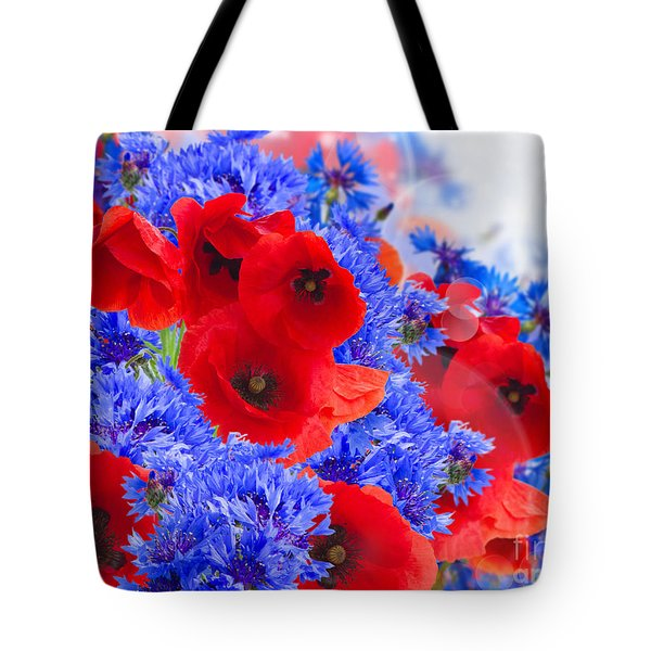 Poppy And Cornflower Flowers Tote Bag
