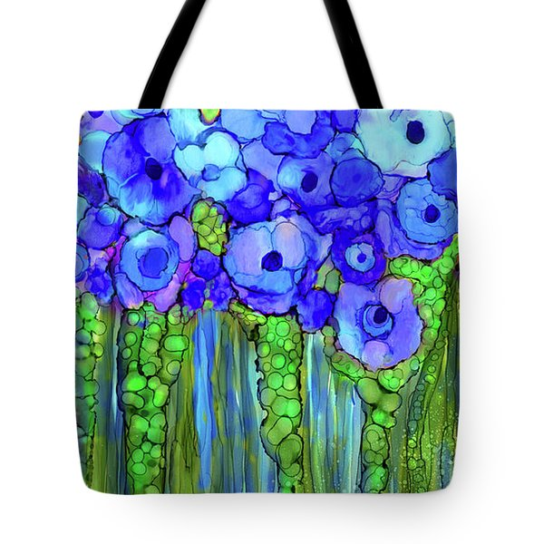 Tote Bag featuring the mixed media Poppy Bloomies 2 - Blue by Carol Cavalaris