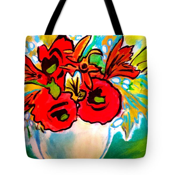 Poppy Bouquet Reworked Tote Bag