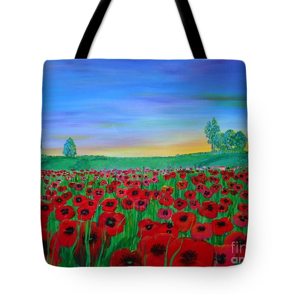 Poppy Field At Sunset Tote Bag