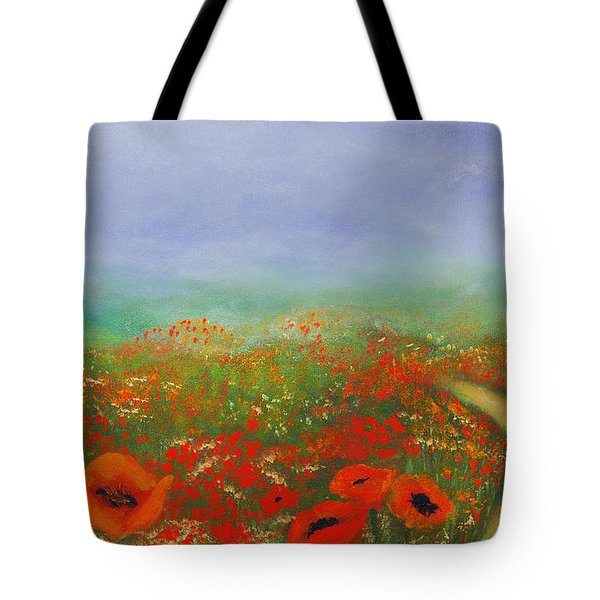 Tote Bag featuring the painting Poppy Field Impressions by Isabella Howard
