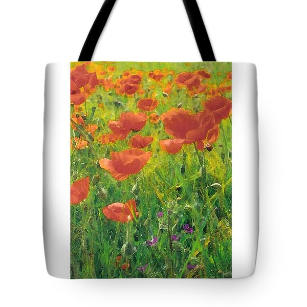 Tote Bag featuring the digital art Poppy Field by Julian Perry