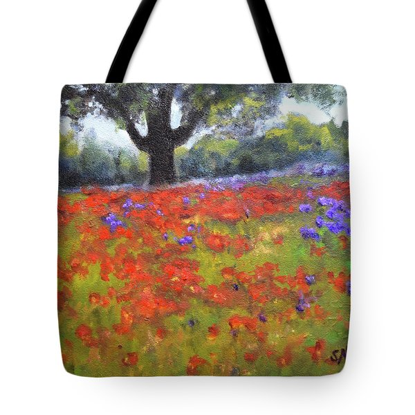 Poppy Field W Tree Tote Bag