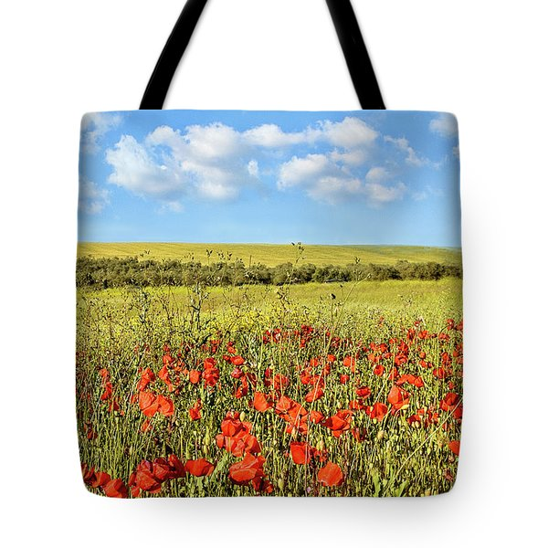 Tote Bag featuring the photograph Poppy Fields by Marion McCristall