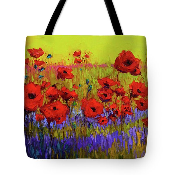 Poppy Flower Field Oil Painting With Palette Knife Tote Bag