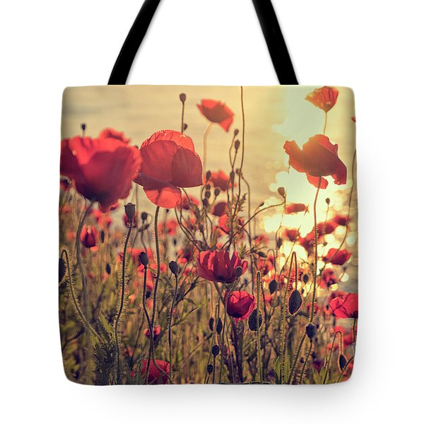 Poppy Flowers At Sunset Tote Bag