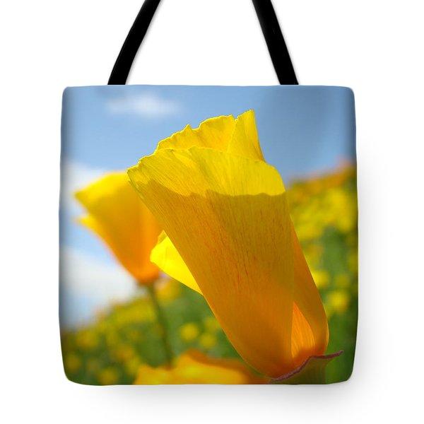 Poppy Flowers Meadow 3 Sunny Day Art Blue Sky Landscape Tote Bag by Baslee Troutman