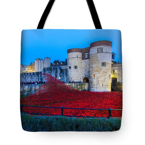Poppy Flowers Tower Of London Tote Bag