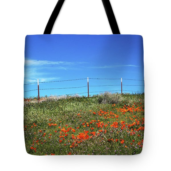 Tote Bag featuring the mixed media Poppy Hill- Art By Linda Woods by Linda Woods