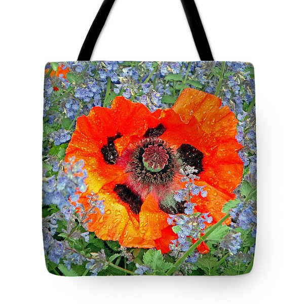 Poppy In Blue Tote Bag