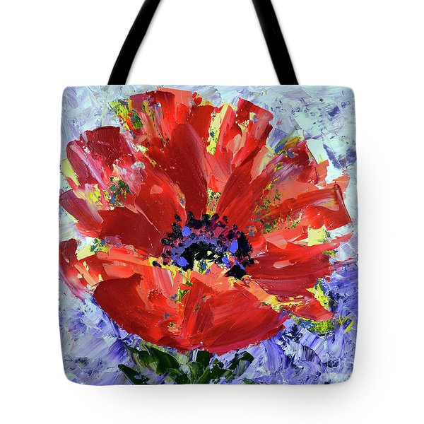 Poppy In Fields Of Lavender Tote Bag