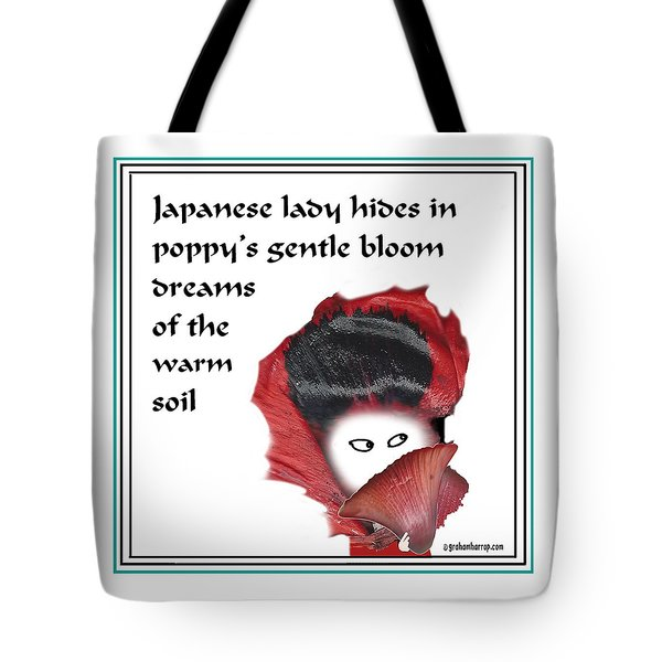 Tote Bag featuring the digital art Poppy Lady by Graham Harrop
