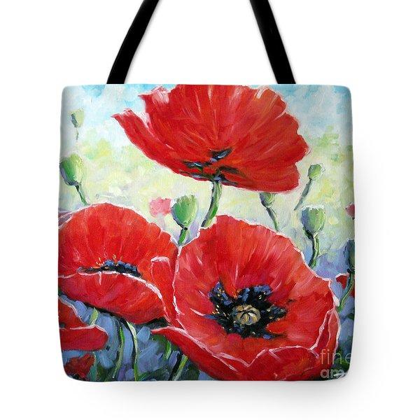 Poppy Love Floral Scene Tote Bag by Richard T Pranke