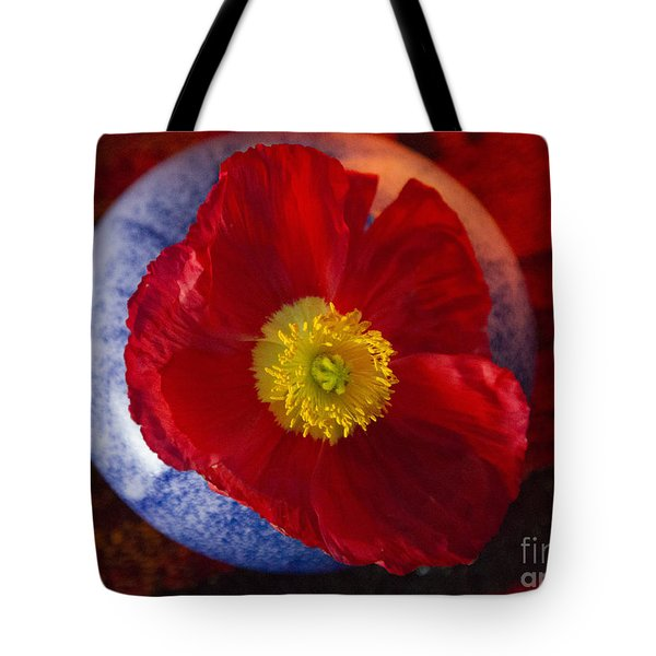 Poppy On Orange Tote Bag by Jeanette French