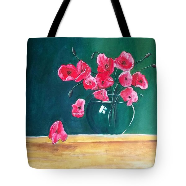 Poppy Still Life Tote Bag by Carol Duarte