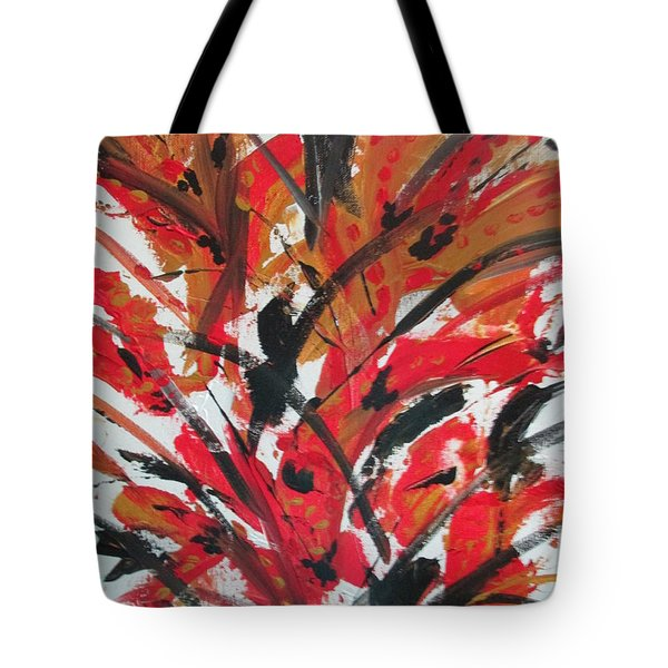 Tote Bag featuring the painting Poppy Storm by Sharyn Winters