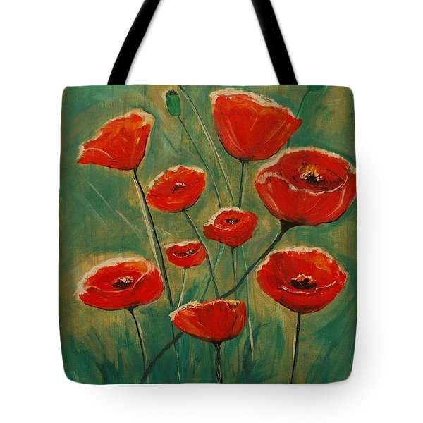 Tote Bag featuring the painting Poppy Surprise by Leslie Allen