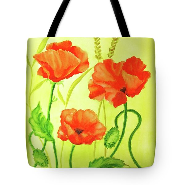 Tote Bag featuring the painting Poppy Trio by Inese Poga