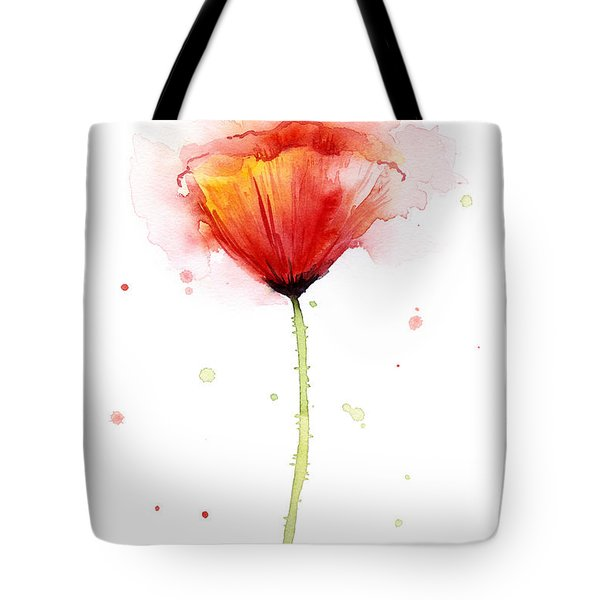 Poppy Watercolor Red Abstract Flower Tote Bag