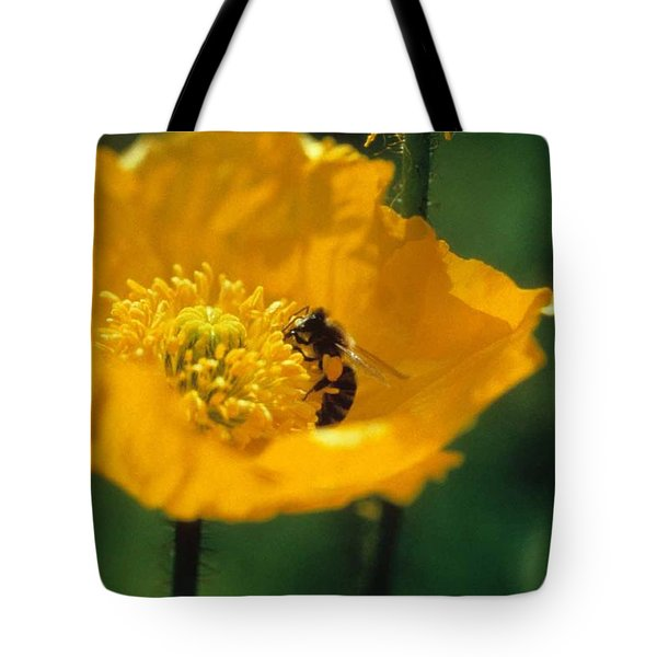 Poppy With Bee Friend Tote Bag by Laurie Paci