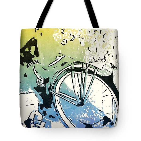 Popsi Backdoor Bike Tote Bag by Joan Zepf