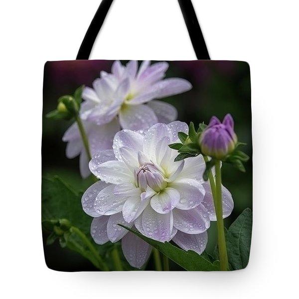 Porcelain Dahlias Tote Bag