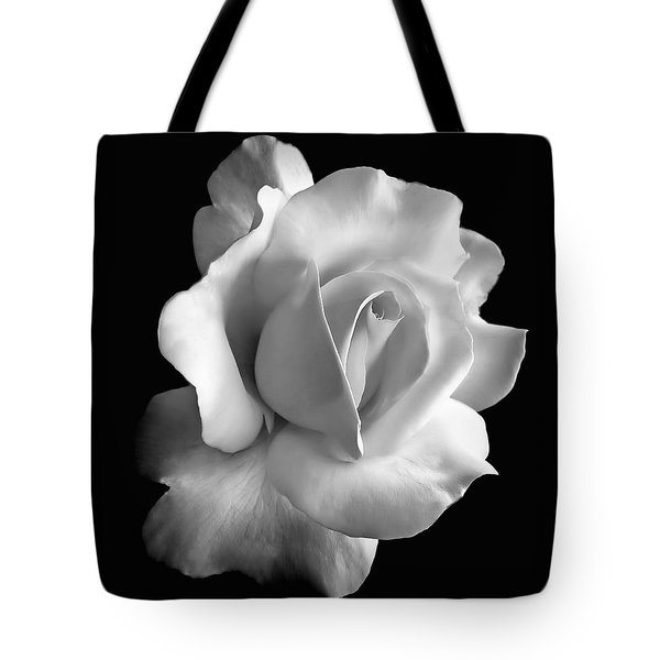 Porcelain Rose Flower Black And White Tote Bag
