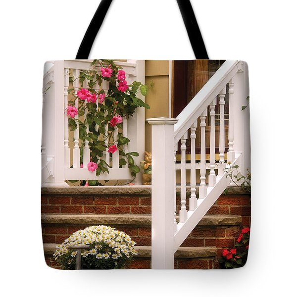 Porch - Garwood Nj - Suburban Paradise Tote Bag by Mike Savad