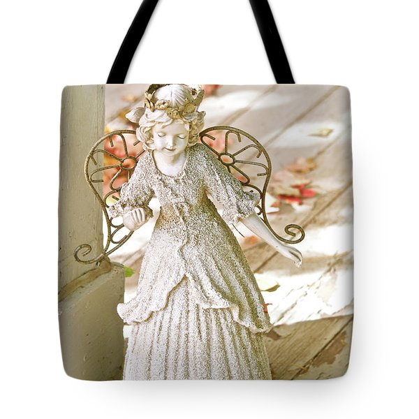 Porch Angel In The Fall Tote Bag
