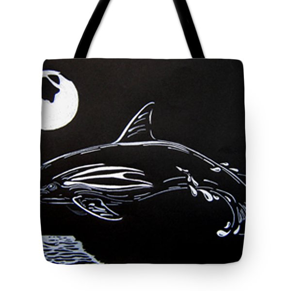 Tote Bag featuring the drawing Porpoise Sillhouette by Mayhem Mediums