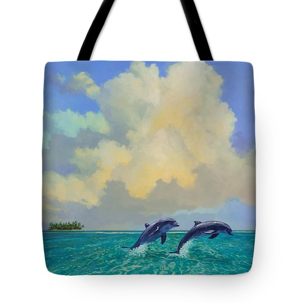 Tote Bag featuring the painting Porpoiseful Play by David  Van Hulst