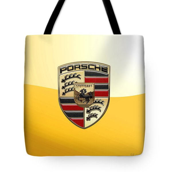 Porsche - 3d Badge On Yellow Tote Bag